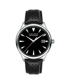 Movado   Large Men's Movado Heritage Series Calendoplan Stainless Steel watch with black dial and leather strap   Movado US