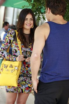 We're loving Aria's comic book-themed dress! Tune in to all new episodes of Pretty Little Liars Tuesdays at 8/7c, only on ABC Family!