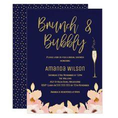 Brunch Bubbly Blue Gold Bridal Shower Invitation Bridal Shower Colors, Beach Bridal Showers, Bridal Shower Games, Bridal Shower Decorations, Bridal Shower Invitations, Custom Invitations, Invitation Design, Brunch Invitations, Invites