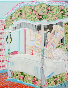 The work of Japanese painter Naomi Okubo   I love the multiple people being the same person