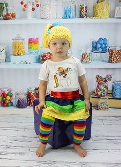 Little girls Rainbow Bright ruffle dress by twistedboutique, $34.00