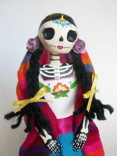 Dia de Los muertos. Mexican Woman Paper Mache Catrina Doll. Day of the dead. LaCasaRoja on Etsy, $30.00