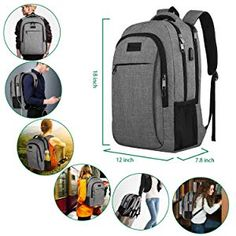 Travel Laptop Backpack,Business Anti Theft Slim Durable Laptops Backpack with USB Charging Port,Water Resistant College School Computer Bag for Women & Men Fits Inch Laptop and Notebook - Grey Best Backpacks For College, Cool Backpacks, Travel Backpack, Travel Bags, Travel Ideas, Waterproof Laptop Backpack, 17 Inch Laptop, Business Laptop, Luggage Straps