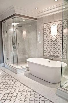 Transitional Master Bathroom with Rain shower, Freestanding, American Standard Cadet Freestanding Tub, High ceiling