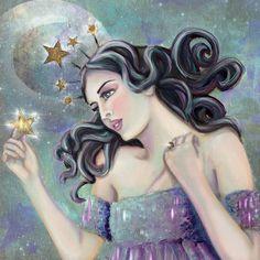 Asteria - Goddess of Stars Canvas Print by blythestarlight Star Goddess, Goddess Art, Fantasy Paintings, Fantasy Art, Virgo Star Constellation, Greece Mythology, Roman Mythology, Greek Gods, Deities