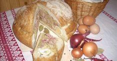 TÖLTÖTT KENYÉRCIPÓ 1 kg-os parasztcipó tetejét levágom. A kenyér belsejét a széleibe kihúzom, 8-10 db főtt tojással körberakom. 1 kg jófajta házi savanyú káposztát egy… Bread, Food, Eten, Bakeries, Meals, Breads, Diet