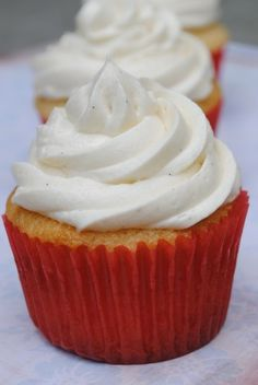 Vanilla Bean Buttermilk Cupcakes with BEST EVER Vanilla Bean Frosting  (no powdered sugar= not too sweet!)