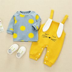 Baby Boy / Girl Polka Dots Top and Ear Decor Overalls Set Baby Outfits Newborn, Baby Boy Outfits, Kids Outfits, Kids Dress Wear, Kids Wear, Baby Boy Fashion, Kids Fashion, Baby Boy Monogram, Baby Boy Dress