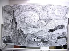 Make a flawless black-and-white recreation of The Starry Night, no big deal. | 27 Pointless Projects To Do When You're Bored At Work