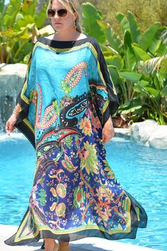 Aqua Blue and Navy Abstract Paisley Print Caftan Womens Abaya Fashion, Fashion Dresses, Fashion Clothes, African Fashion, Indian Fashion, Long Beach Cover Up, Plus Size Beach, Kaftan Tops, Dress Indian Style