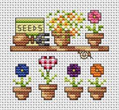 Small flower pots - cross stitch