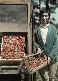 Edwin L. Wisherd. A girl stands by strawberries that will be made into jams and jellies.Hammond, Louisiana.  taken from April 1930 National Geographic Magazine.