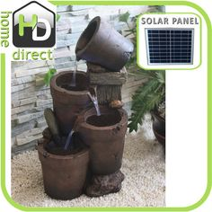 Forrest Solar Water Feature  Water pump included Solar Power panel included Light Weight polyresin body Standard 10amp power plug included Specifications:  Dimensions: 350mm (W) x 350mm (D) x 700mm (H) Solar Panel Dimensions: 355mm (W) x 18mm (D) X 295mm (H)
