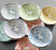 Love these!  Graphic Bunny Plates, Set of 4 Pottery Barn, 2014