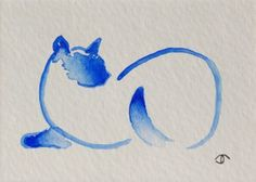 Available on ebay: abstract blue siamese cat ACEO mini original watercolor painting trading card (Artist: Jennifer Thangavelu / facebook: Limninescence Fine Art)