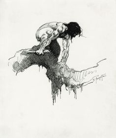 FRANK FRAZETTA Tarzan On A Limb Ink 9″ x 10″