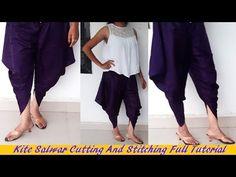 Kite Salwar cutting And Stitching Full Tutorial Sewing Pants, Sewing Clothes, Salwar Designs, Blouse Designs, Dress Patterns, Sewing Patterns, Tulip Pants, Salwar Pattern, Pants Tutorial