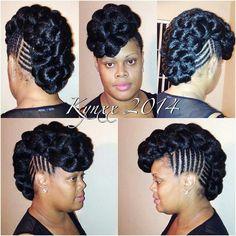 Cornrow updo, very nice Braided Mohawk Black Hair, Natural Hair Ponytail, Black Girl Braids, Girls Braids, Twisted Updo, Braided Updo, Natural Hair Styles, Short Hair Styles, Black Wedding Hairstyles