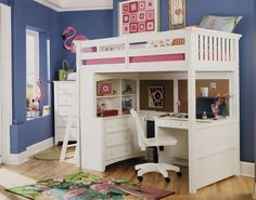 Bunk bed with desk under it. This could possibly be a birthday gift this year!
