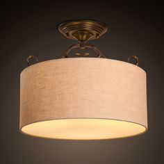 Rustic Fabric Drum-Shaped Semi Flush Mount with Round Canopy - Lighting Wire Light Fixture, Rustic Light Fixtures, Rustic Lighting, Fabric Ceiling, Ceiling Lamp, Ceiling Lights, American Village, Rustic Fabric, Flush Mount Lighting
