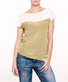 Take a look at this Green Moss Silk Jen Top by Amour Vert on #zulily today!