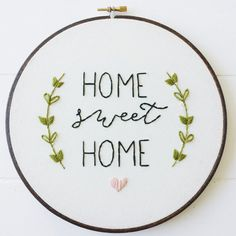Home Sweet Home Pre Printed Fabric Embroidery Pattern This is a pre printed fabric hand embroidery pattern suited for beginners. The total size