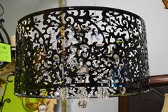 Large Black Contemporary Chandelier with Laser Cut Drum Style Shade