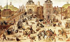 Francois Dubois 001 - St. Bartholomew's Day massacre 1572  Painting by François Dubois, a Huguenot painter born circa 1529 in Amiens, who settled in Switzerland. Although Dubois did not witness the massacre, he depicts Admiral Coligny's body hanging out of a window at the rear to the right. To the left rear, Catherine de' Medici is shown emerging from the Château du Louvre to inspect a heap of bodies.[1]