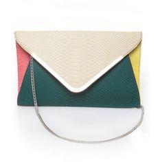 color-block clutch | Cute Snakeskin Clutch - Color Block Clutch - Snakeskin Purse - $35.00