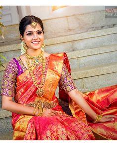 Best Blouse Designs, Wedding Saree Blouse Designs, Wedding Sarees, Wedding Dresses, Traditional Blouse Designs, Pink Color, Colour, Bridal Poses, Net Lehenga