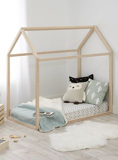 """This item is only available for purchase online and home delivery.     An irresistible secret hiding place for kids! Designed just for little ones, this real miniature house will be their favourite place to hang out and play.  Mattress, sheets and home decor shown is for illustrative purposes only.      MATERIALS AND FINISH   Natural Baltic birch wood      MAINTENANCE   Remove any marks using a damp cloth  Assembly required      DIMENSIONS   Height: 52""""  Width: 54.5""""  Depth: 30&quo..."""