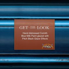 Get the Look - General Finishes Corinth Blue Milk Paint accented with Pitch Black Glaze Effects. Watch GF's video to learn more about glazing, https://www.youtube.com/watch?v=Iqo0wN3B0-E #generalfinishes #gfmilkpaint #getthelook
