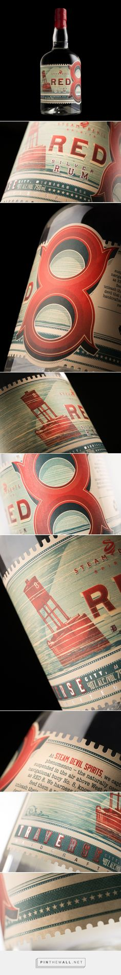 Red 8 Rum for Steam Devil Spirits packaging design by Hired Guns Creative - http://www.packagingoftheworld.com/2017/05/red-8-rum-for-steam-devil-spirits.html