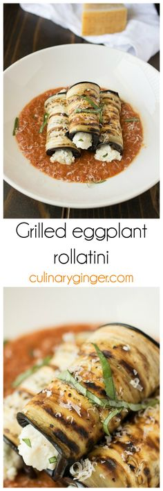 Grilled eggplant rollatini. Grilled instead of fried, the eggplant is rolled up with homemade ricotta, fresh basil, fresh lemon and a hint of nutmeg. Delicious appetizers or  entrée.