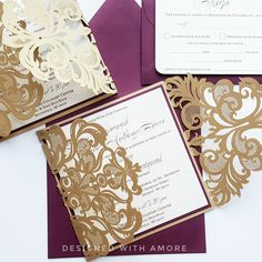Gold Lace wedding invitations - Lasercut Burgundy gold wedding invitations {Broadway design, gold laser cut} by DesignedWithAmore on Etsy https://www.etsy.com/listing/472555049/gold-lace-wedding-invitations-lasercut