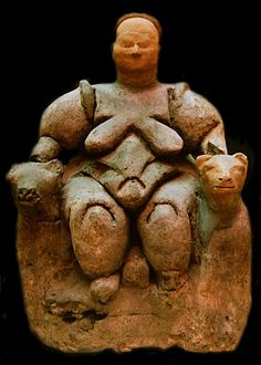 Turkey / The famous leopard-enthroned goddess from the granary at Çatalhüyuk, close to 6000 BC