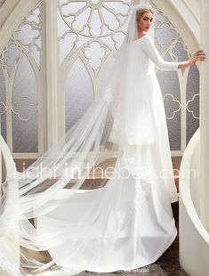 A-Line Bateau Neck Chapel Train Satin Made-To-Measure Wedding Dresses with by LAN TING BRIDE® 2018 - £104.51