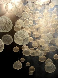 Alejandro Sales. Barcelona. Fiber Bubbles art installation - beautiful textile constructions