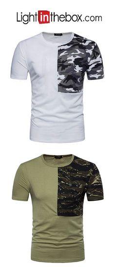 04410799c52   12.99  Men s Sports Cotton T-shirt - Camouflage Round Neck   Short  Sleeve. Men DesignGentleman StyleGentleman FashionCamouflageMens Clothing  ...
