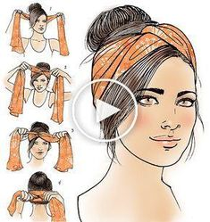 Turban how-to voor Latina Magazine – trendy kapsels Fast Hairstyles, Bandana Hairstyles, Summer Hairstyles, Comment Porter Un Bandana, Braid Styles, Short Hair Styles, Latina Magazine, Updo With Headband, Head Scarf Styles