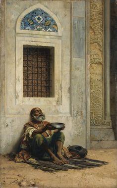 Stanislaus von Chlebowski (Polish, 1835-1884). Mendicant at the Mosque Door