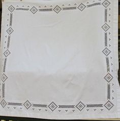 Tablecloth White Embroidery Drawn Thread by PassedBy on Etsy