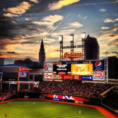 Cleveland Indians Baseball Game at Sunset at Progressive (Jacobs) Field in Cleveland, Ohio. (A15) on Etsy, $10.00