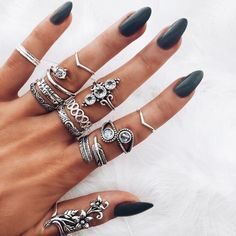 Silver nails with rings
