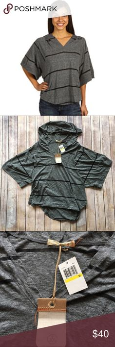 Alternative Apparel Jupiter Poncho Black Stripe I just *love* how soft and cozy Alternative Apparel clothes are! This hooded Poncho is no exception - plus, this is sold at Revolve so you know it has to be top quality! 👌 Front kangaroo pocket, back gathering detail. Grey with black stripes. Brand new with tags!  🚫no trades 🚫no modeling ✅dog friendly/🚭smoke free home ✅reasonable offers ✅bundle & save! Alternative Apparel Sweaters Shrugs & Ponchos