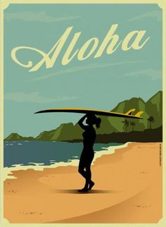 Only Hours Away! 20x30 1950s Hawaii Travel Poster