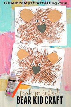 Fork Painted Teddy Bear - Kid Craft Fork Painted Bear - Recycled plastic forks and brown craft paint merge together for this fun textured bear kid craft idea! Bear Crafts Preschool, Daycare Crafts, Preschool Camping Theme, Camping Theme Crafts, Zoo Preschool, September Preschool, Camping Crafts For Kids, Kindergarten Crafts, January