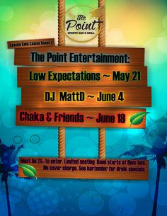 You've come to expect great music at The Point Sports Bar at Apache Gold Casino & Resort. Favorites Low Expectations, DJ Matt D, and Chaka & Friends perform in May & June, 2016. Be sure to check out our amazing drink specials!