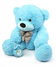 A beautiful 3ft blue Giant Teddy bear will make any Easter basket awesome - of course he's so big he'll have to hold the basket! Happy Cuddles Soft and Huggable Sky Blue Teddy Bear 38in