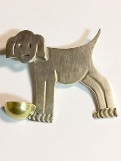 Vintage Taxco Sterling Silver Dog with Bowl Brooch #Taxco #SterlingSilverBowl